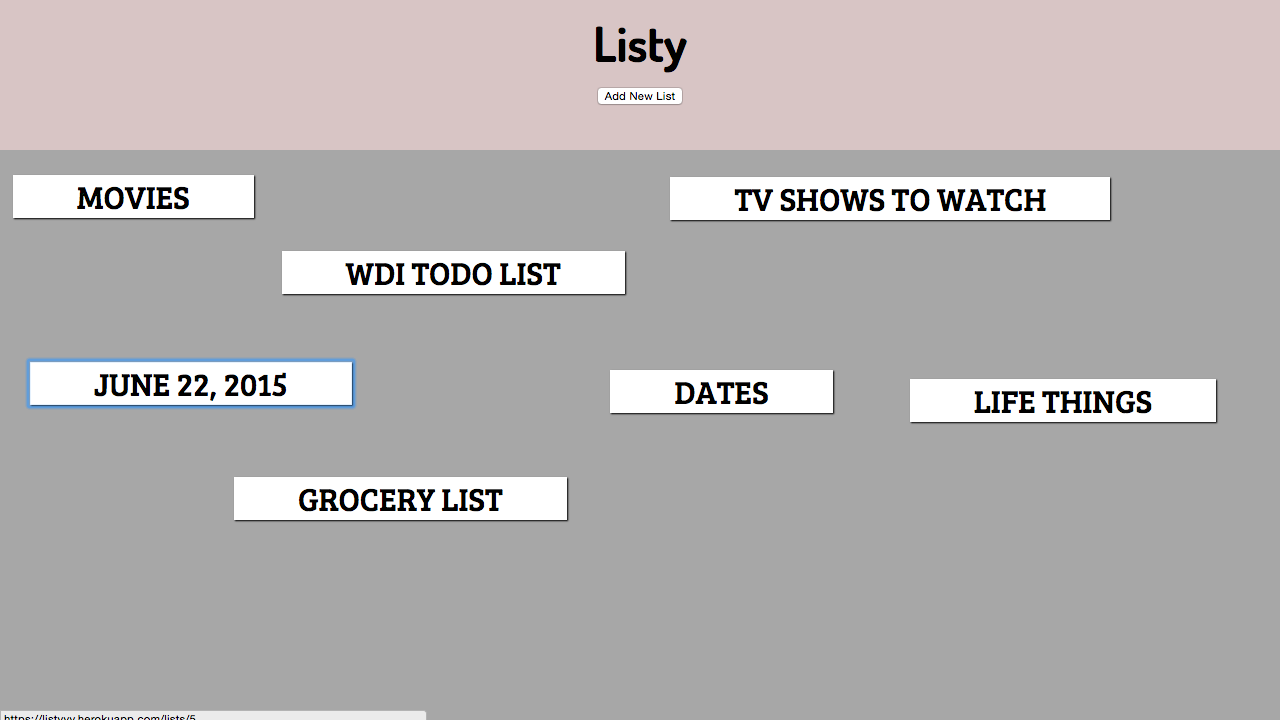 Listy by Nic Small